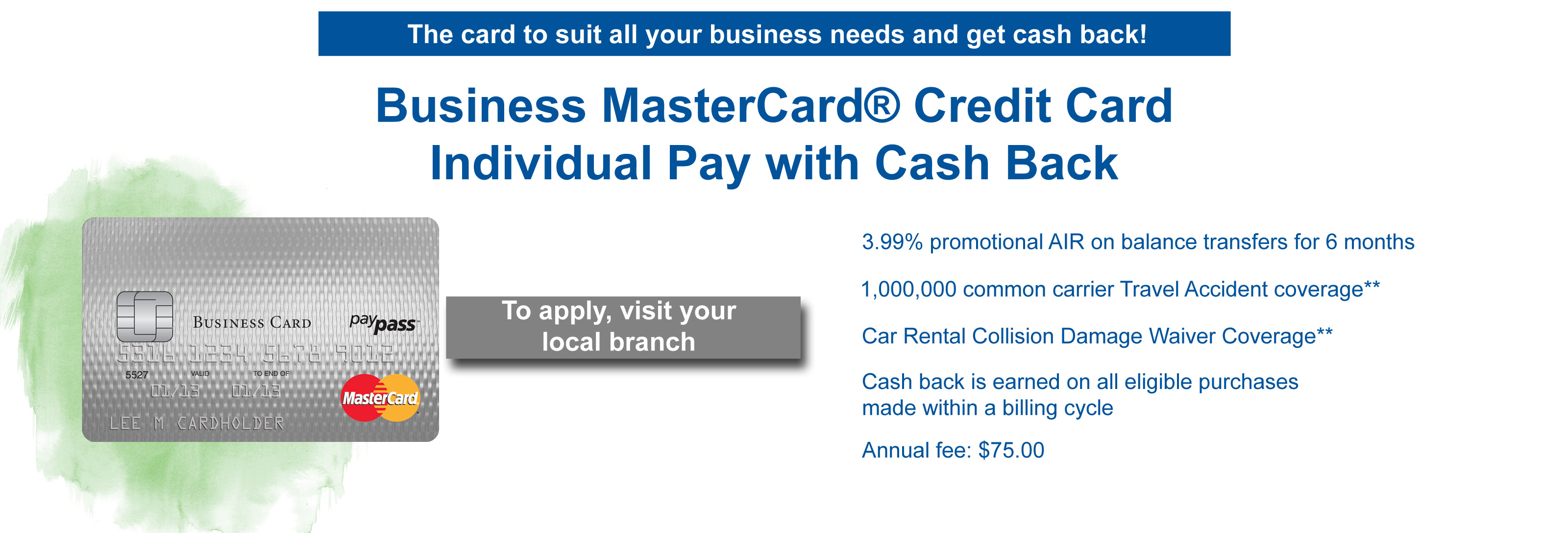 Business individual pay cash back