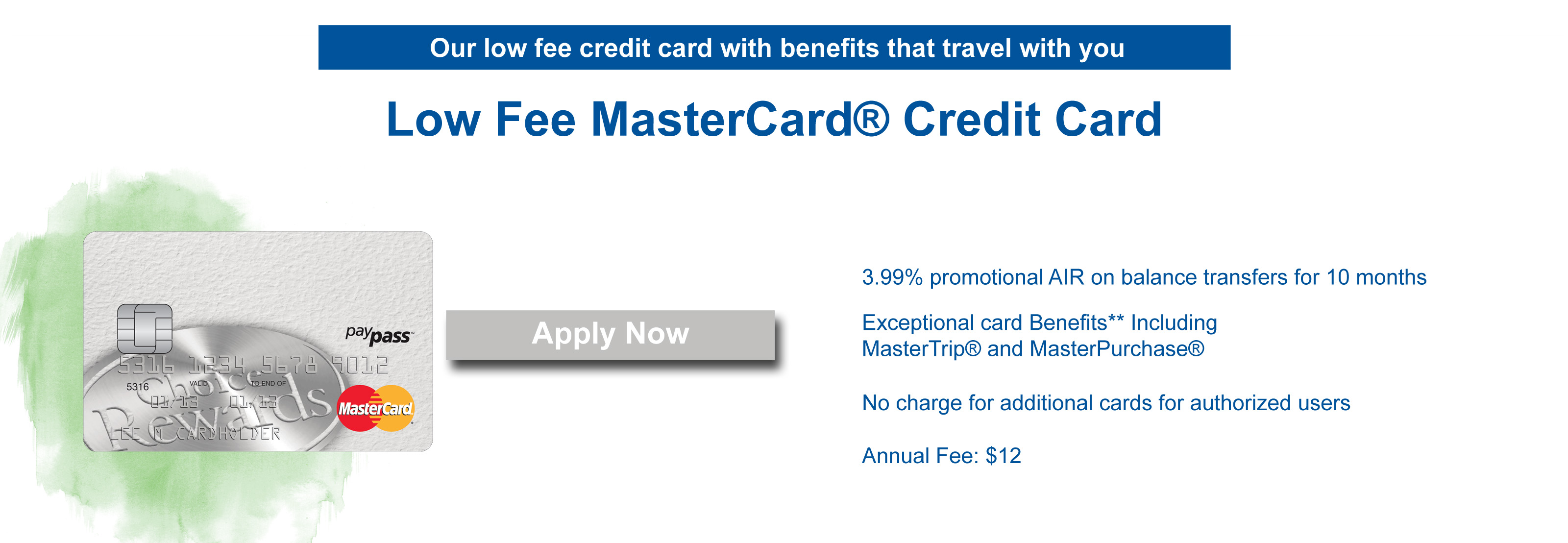 Low fee card