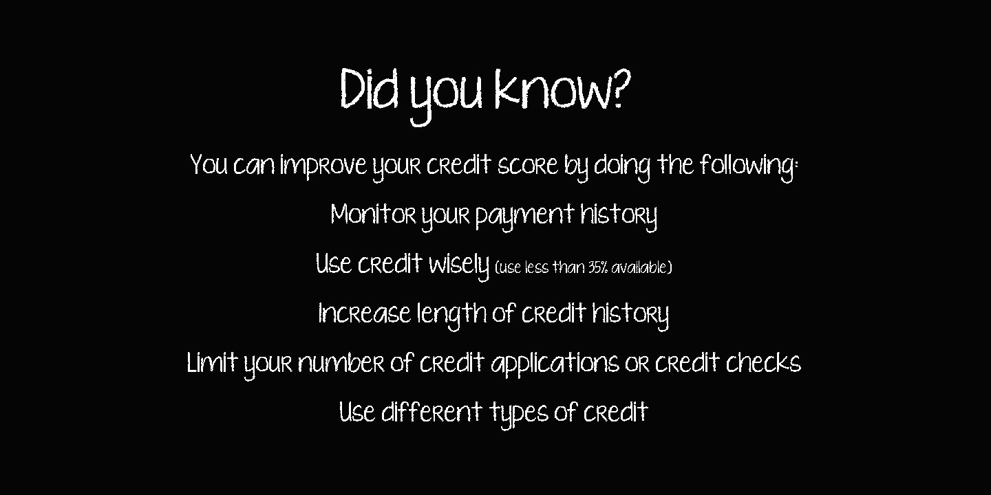 Did you know improve Credit Score