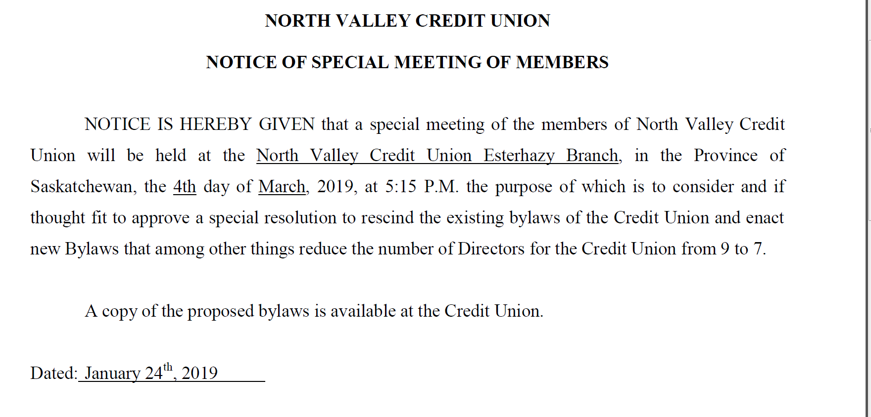 Notice of Special Meeting